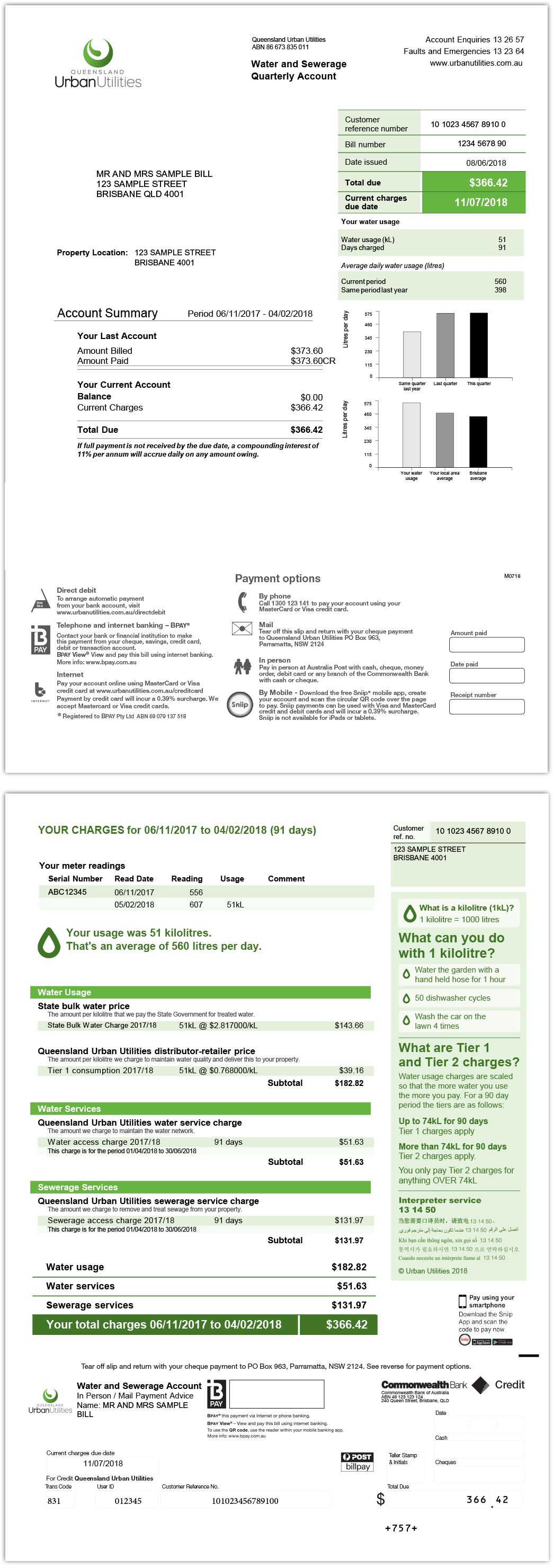 Example of Queensland Urban Utilities quarterly water and sewerage bill